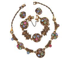 Barclay Rhinestone Necklace Bracelet Earrings Designer Signed Parure Ornate