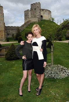 """Charlize Theron & Kristen Stewart at the """"Snow White and The Huntsman"""" photocall in London."""
