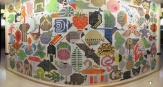 Another view of the Charley Harper tile mural, Cinncinnati.  1 x 1 mosaic tiles.  1964.