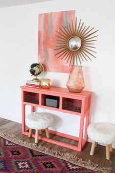 Sherwin-Williams Coral Reef Painted Console Table- LOVE this color Console Table, A Table, Entryway Console, Painted Furniture, Diy Furniture, Farmhouse Furniture, Consoles, Diy Home Decor, Room Decor