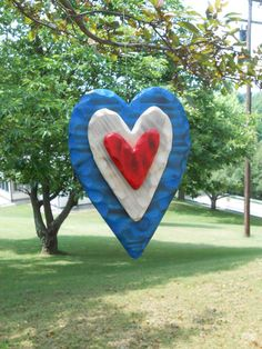 Red White & Blue Double Sided Heart