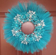 Blue & Silver Glitter Snowflake Winter Wreath by FrancandAllies, $25.00