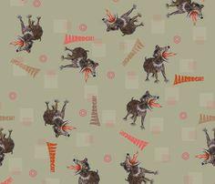 Tasmanian Devils on dark background fabric by sydama on Spoonflower - custom fabric