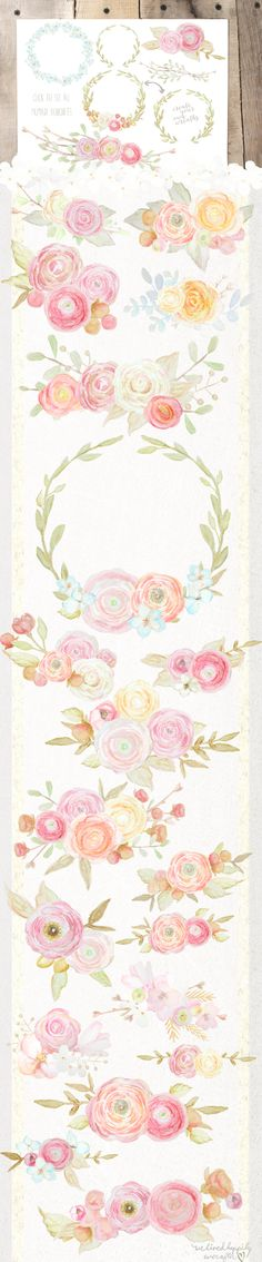 This lovely collection of watercolor flowers is perfect for all your dreamy DIY designing needs. It includes the following hand-painted elements: flowers, bouquets, watercolor textures, antlers, twigs & leaves. This pack of graphics has a soft, airy & vintage feel that is perfect for stationary, posters, web design, branding & logos, prints, merchandise, business cards, t-shirts, labels, logos & more. The possibilities are endless!