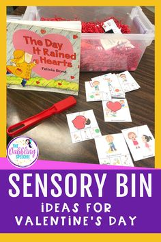 Check out these fun Valentine's Day sensory bins that you can use at home with your children. You can work on so many speech and language skills while using this sensory bin. Preschool Speech Therapy, Speech Activities, Preschool Kindergarten, Life Skills Classroom, Special Education Classroom, Classroom Ideas, Speech Language Pathology, Speech And Language, Sensory Bins
