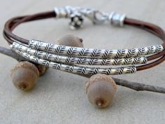 Sterling Silver and Chocolate Brown Leather Bracelet by TANGRA2009, $69.00