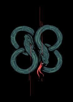 Displate Poster Twinhead snakes snakes #twinhead #animal #green #red #eight #number
