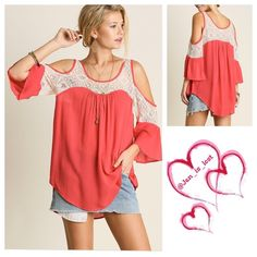 Arrives 4/20!! Lace Love Cold Shoulder Top Large Lace Love Cold Shoulder Topcolor is coralEffortless and elegant. Feel free to wear this everywhere you go,you might as well when you look THAT good.  Fabric: COTTON BLEND  No Trades  ✅ Price Firm Unless Bundling✅ Tops