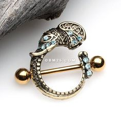A Pair of Golden Ganesha Elephant Sparkle Nipple Shield Ring-Aqua