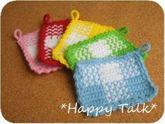 ギンガムチェック風のアクリルたわしの作り方|編み物|編み物・手芸・ソーイング|ハンドメイドカテゴリ|アトリエ
