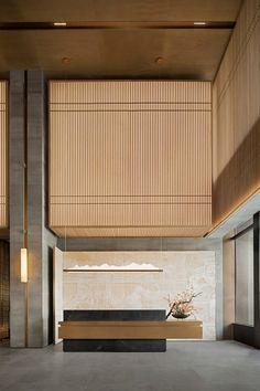 hotel lobby E Interior Modern, Japanese Interior, Office Interior Design, Interior Architecture, Office Designs, Interior Garden, Home Design, Hotel Lobby Design, Modern Hotel Lobby