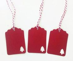 Red Christmas gift tags set of 6