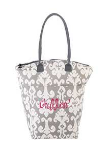Cool Tote - Tybee 15H x 8W x 6D Curved zipper top allows for tall bottles. Long handles for an over the shoulder fit. Front pocket for straws, corkscrews, bottle opener, etc. Insulated, water resistant but not waterproof. Microfiber.