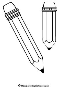 2 school pencils picture to color or digital stamp