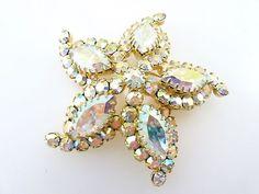 Vintage Signed Sherman Aurora Borealis Domed Star Fish Figural Brooch *STUNNING*