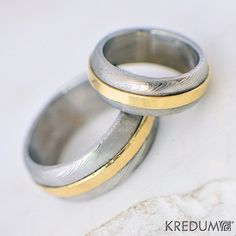 Gold Wedding Ring, Custom jewelry, Love ring, Hand forged stainless damascus steel and gold Wedding Ring - Duori. Rings are made od damascus stainless steel DAMASTEEL. Yellow gold14carat.