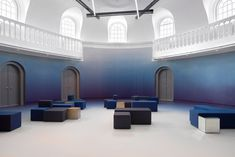 Studio and Math Architecten refurbish Amsterdam's Felix Meritis institution, built in combining preservation with contemporary updates. Coral Pantone, Blue Photography, Art Blue, Amsterdam Houses, Acoustic Wall, Acoustic Panels, Event Room, Journal Du Design, Unique Buildings