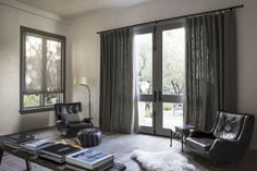 Beachcomber/Charcoal 15306 with Privacy Lining, Ribbon Banding in Fret/Gray 16109 #Curtains #Livingroom #Decor