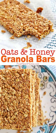 Healthy crunchy granola bar recipe perfect for breakfast-on-the-go or as a wholesome, portable snack! This oats and honey granola bar recipe is a homemade all natural oats that will be loved by the kids! Save this breakfast recipe for later! Healthy Granola Bars, Healthy Bars, Healthy Treats, Oats And Honey Granola Bars Recipe, Healthy Cereal Bars, Granola Oats, Oat Cereal Bars Recipe, Homade Granola Bars, Granola Bar Recipe Easy