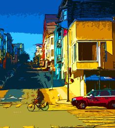 A Bike in the street of San Francisco by nashpopart on Etsy