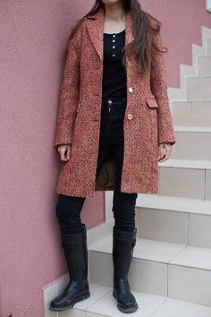 VTG Woman Wool Winter Coat / Vintage Long Orange Fall Jacket /