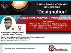 Featured APD Member | Our membership connects & supports every Industry sector in dispute avoidance & resolution | Kumaraguru Gangaiah B.Eng (Civil), PMP®, APD, EDSCM gains Prime Dispute #APD membership | Have you gained your membership designation? https://www.primedispute.com/join-us.html | #AdvocatePrimeDispute #PrimeDispute #PMP #EDSCM #Membership #Planning #Engineer #Project #TimeDelay #ClaimAdministrator