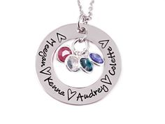 Names and Hearts Birthstone Loop Necklace