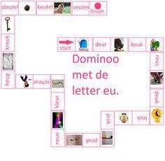 Lijn 3  Thema 4  Dominoo met de letter eu - Digibord Onderbouw
