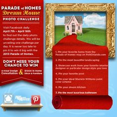 """Pinterest Challenge #7: Pin the most luxurious bathroom to your """"Parade of Homes Orlando Dream Home"""" contest board.  (Bonus points if your photo is from an upcoming parade home, which can be found on our website!)  For full details on how you could Pin to Win $1,000 in furniture & decor from Furniture Design Gallery along with a 4 hour interior design consultation by Masterpiece Design Group, see the full contest post here: http://on.fb.me/10KXknd"""