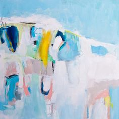 Large Abstract Painting Blue painting 31.5x31.5 by DUEALBERI
