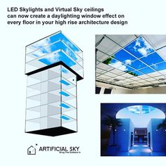 High rise architecture design ideas using Artificial Sky LED skylights #LI #skyceiling #ledskylights #biophilicdesign #artificialsky #ceiling #interiordesigner #spaceplanning #workplace #elevator #highrisearchitecture #highrise #lobbydesign