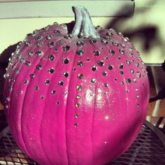 How I do Fall / Halloween.....I hate the color orange, so I paint my pumpkin pink and add a little bling. Happiness:-)