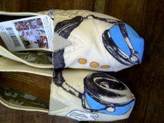Custom Painted Toms shoes, Headphones. $55.00, via Etsy.