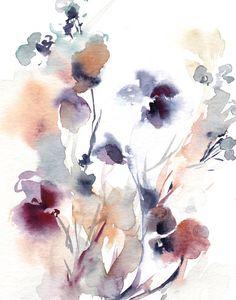 Pintura grabada acuarela floral de flores moderno arte