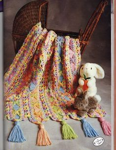 """Bright Ribbons Mile-A-Minute Afghan - pattern is from the pamphlet """"Mile a Minute Baby Afghans"""" (Annie's Attic)"""