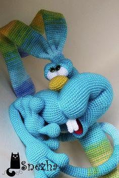 Купить Кекс с ромашковым чаем - бирюзовый, заяц игрушка, вязаная игрушка, вязание крючком