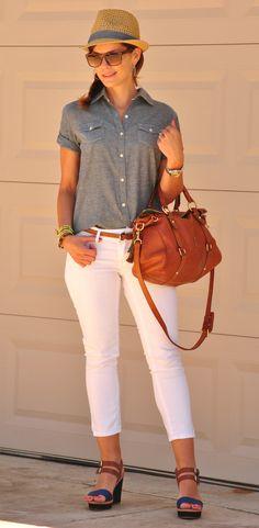 White Jeans Chambray