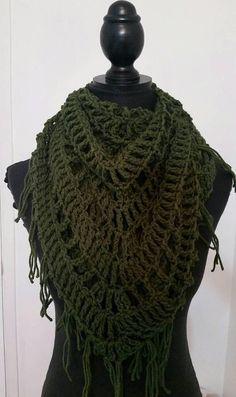 Green scarf, green shawl, crochet scarf