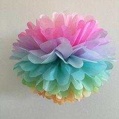 Pastel Rainbow tissue paper pompom unicorn girl first birthday