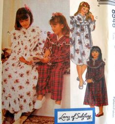 McCALLS SEWING PATTERN - 8546 GIRLS Med-XL - GOWN SHORT OR LONG