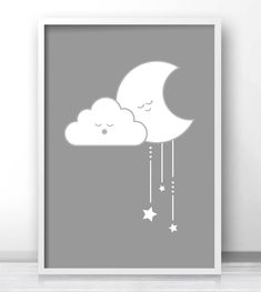 Printable Gender Neutral Baby Art, Moon And Stars Kids Wall Art, Gray Nursery Wall Art, Gender Neutral Nursery Decor