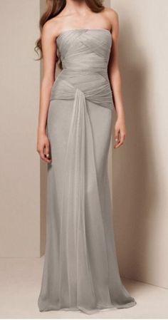 Vera Wang White collection light gray/silver bridesmaid dress chiffon gown sz 10 #bridesmaid #verawang