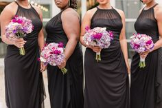 Mix of purple bridesmaids bouquets  Photo by Amy Hutchinson Floral by Southern Event Planners