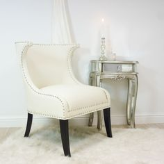 Modern Hollywood Glamour Ivory Stud Chair, bedroom chair, cream : Beau Decor