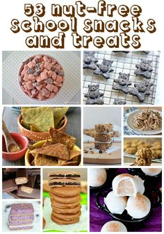 Nut Free School Snacks and Treats - great resource for those of us with allergies Healthy School Snacks, Lunch Snacks, Clean Eating Snacks, School Lunches, Kid Snacks, Bag Lunches, Work Lunches, School Treats, Fruit Snacks