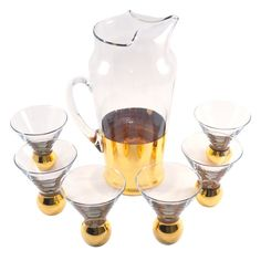 Gold Base Cocktail Pitcher Set