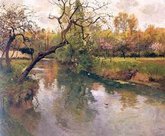 Frits Thaulow (Norwegian, Impressionism, 1847-1906):  River, c. 1895. - Google Search