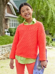 Free Pattern - Your kids will have no problem getting active in this fashionable and fun sweater. #Knit in Caron Simply Soft.