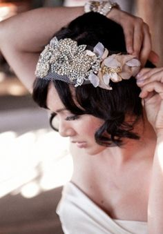 Bride, Wedding Hair, Hairpiece http://www.stylemepretty.com/2010/12/16/wedding-for-two-by-aaron-delesie-lisa-vorce/