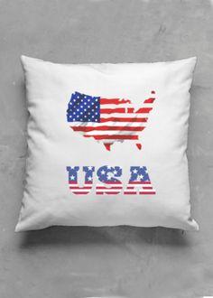 Accent Pillow - Matte Square - United States Of America in Blue/Purple/Red by VIDA Original Artist Pillow Inserts, Pillow Covers, Accent Pillows, Throw Pillows, Vida Design, Oil On Canvas, Purple, Blue, Original Artwork